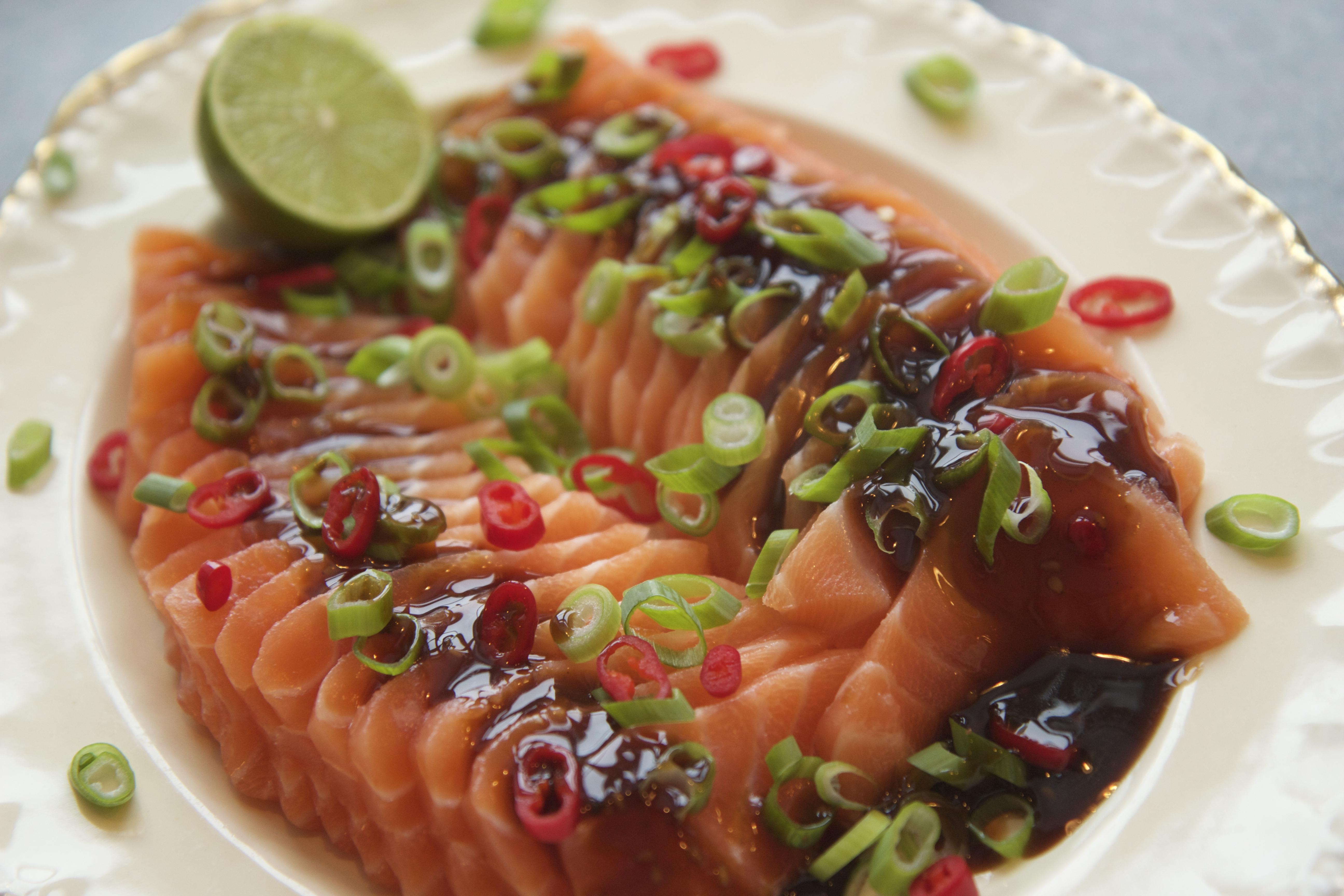 Sashimi med teriyaki dressing alt godt for Sashimi dressing